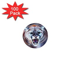 Cougar Animal Art Swirl Decorative 1  Mini Buttons (100 Pack)