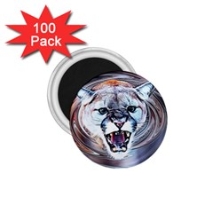 Cougar Animal Art Swirl Decorative 1 75  Magnets (100 Pack)