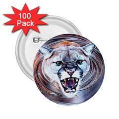 Cougar Animal Art Swirl Decorative 2 25  Buttons (100 Pack)  by Nexatart