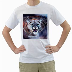Cougar Animal Art Swirl Decorative Men s T Shirt (white) (two Sided)