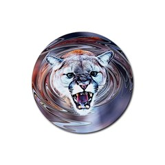 Cougar Animal Art Swirl Decorative Rubber Round Coaster (4 Pack)  by Nexatart