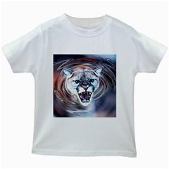 Cougar Animal Art Swirl Decorative Kids White T Shirts