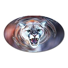 Cougar Animal Art Swirl Decorative Oval Magnet by Nexatart