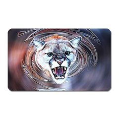 Cougar Animal Art Swirl Decorative Magnet (rectangular)