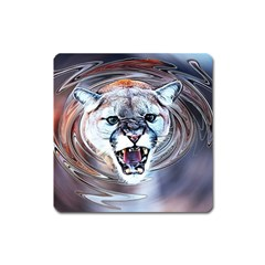 Cougar Animal Art Swirl Decorative Square Magnet by Nexatart