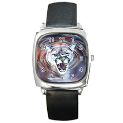 Cougar Animal Art Swirl Decorative Square Metal Watch by Nexatart