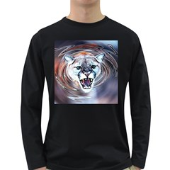 Cougar Animal Art Swirl Decorative Long Sleeve Dark T Shirts by Nexatart