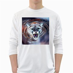 Cougar Animal Art Swirl Decorative White Long Sleeve T Shirts