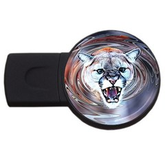 Cougar Animal Art Swirl Decorative Usb Flash Drive Round (4 Gb)