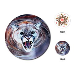 Cougar Animal Art Swirl Decorative Playing Cards (round)  by Nexatart