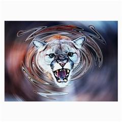 Cougar Animal Art Swirl Decorative Large Glasses Cloth