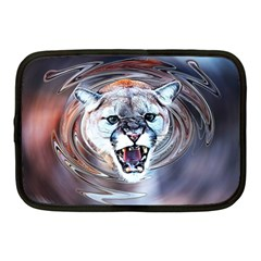 Cougar Animal Art Swirl Decorative Netbook Case (medium)  by Nexatart