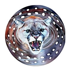 Cougar Animal Art Swirl Decorative Ornament (round Filigree)