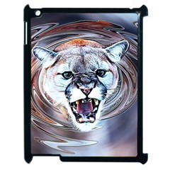 Cougar Animal Art Swirl Decorative Apple Ipad 2 Case (black) by Nexatart