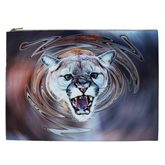 Cougar Animal Art Swirl Decorative Cosmetic Bag (xxl)