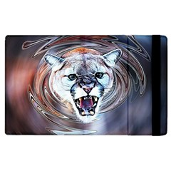 Cougar Animal Art Swirl Decorative Apple Ipad 3/4 Flip Case