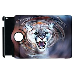 Cougar Animal Art Swirl Decorative Apple Ipad 2 Flip 360 Case by Nexatart