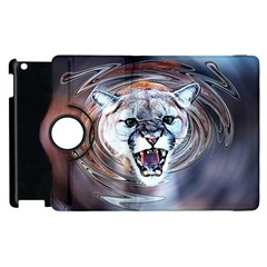 Cougar Animal Art Swirl Decorative Apple Ipad 3/4 Flip 360 Case by Nexatart