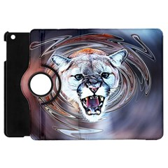 Cougar Animal Art Swirl Decorative Apple Ipad Mini Flip 360 Case