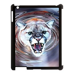 Cougar Animal Art Swirl Decorative Apple Ipad 3/4 Case (black) by Nexatart
