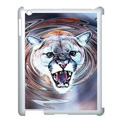 Cougar Animal Art Swirl Decorative Apple Ipad 3/4 Case (white)