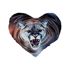 Cougar Animal Art Swirl Decorative Standard 16  Premium Heart Shape Cushions