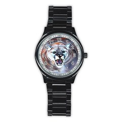 Cougar Animal Art Swirl Decorative Stainless Steel Round Watch