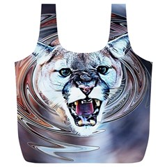 Cougar Animal Art Swirl Decorative Full Print Recycle Bags (l)  by Nexatart