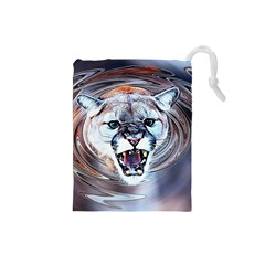 Cougar Animal Art Swirl Decorative Drawstring Pouches (small)