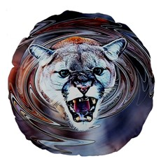 Cougar Animal Art Swirl Decorative Large 18  Premium Flano Round Cushions
