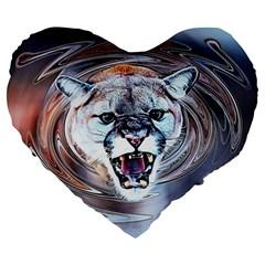 Cougar Animal Art Swirl Decorative Large 19  Premium Flano Heart Shape Cushions