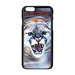 Cougar Animal Art Swirl Decorative Apple Iphone 6/6s Black Enamel Case
