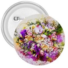 Flowers Bouquet Art Nature 3  Buttons