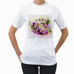 Flowers Bouquet Art Nature Women s T Shirt (white) (two Sided)