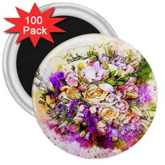 Flowers Bouquet Art Nature 3  Magnets (100 Pack)