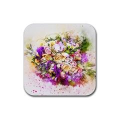 Flowers Bouquet Art Nature Rubber Coaster (square)
