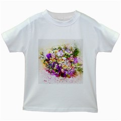 Flowers Bouquet Art Nature Kids White T Shirts
