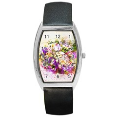 Flowers Bouquet Art Nature Barrel Style Metal Watch