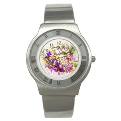 Flowers Bouquet Art Nature Stainless Steel Watch