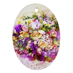 Flowers Bouquet Art Nature Oval Ornament (two Sides)