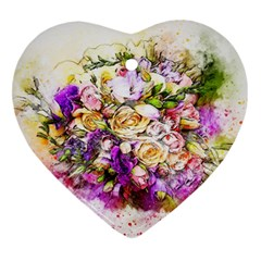 Flowers Bouquet Art Nature Heart Ornament (two Sides)