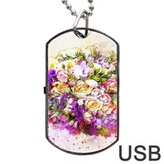 Flowers Bouquet Art Nature Dog Tag Usb Flash (one Side)