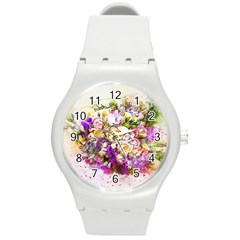 Flowers Bouquet Art Nature Round Plastic Sport Watch (m)