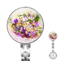 Flowers Bouquet Art Nature Stainless Steel Nurses Watch