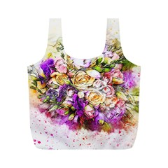 Flowers Bouquet Art Nature Full Print Recycle Bags (m)
