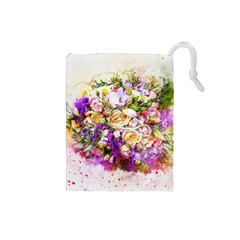 Flowers Bouquet Art Nature Drawstring Pouches (small)