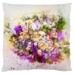 Flowers Bouquet Art Nature Large Flano Cushion Case (one Side)