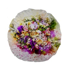 Flowers Bouquet Art Nature Standard 15  Premium Flano Round Cushions
