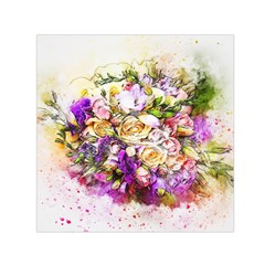 Flowers Bouquet Art Nature Small Satin Scarf (square)