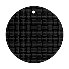 Background Weaving Black Metal Ornament (round)